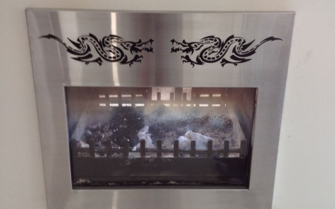 Custom Stainless Steel Fireplace surround
